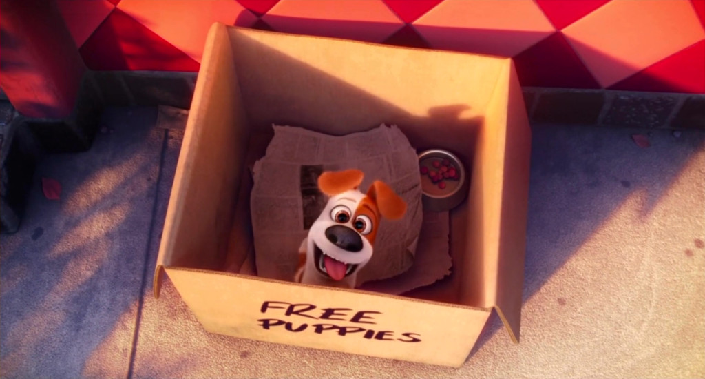 The secret life of pets movie still - Max puppy in a box