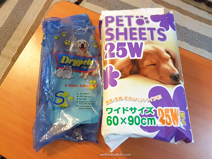 dog potty pee pad review - selection of pee pads in Singapore