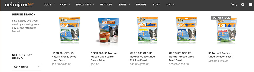 k9 natural freeze dried raw dog food range on nekojam online shop singapore