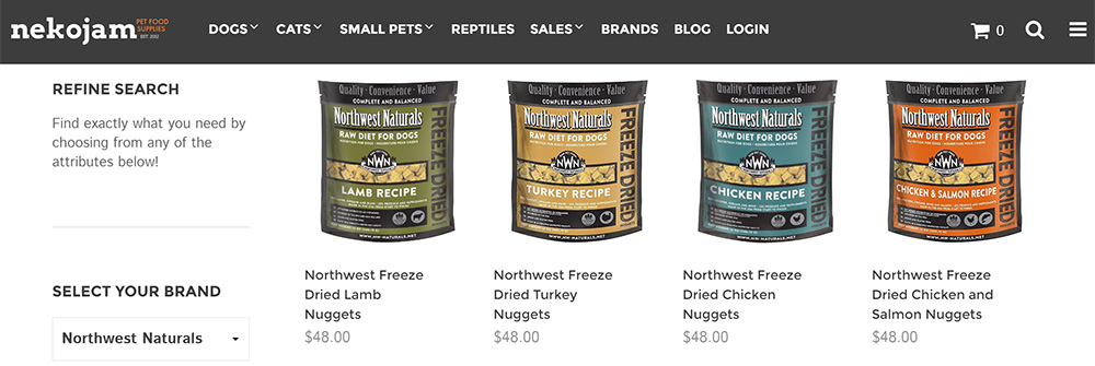 Northwest Naturals freeze dried raw dog food on nekojam online store singapore