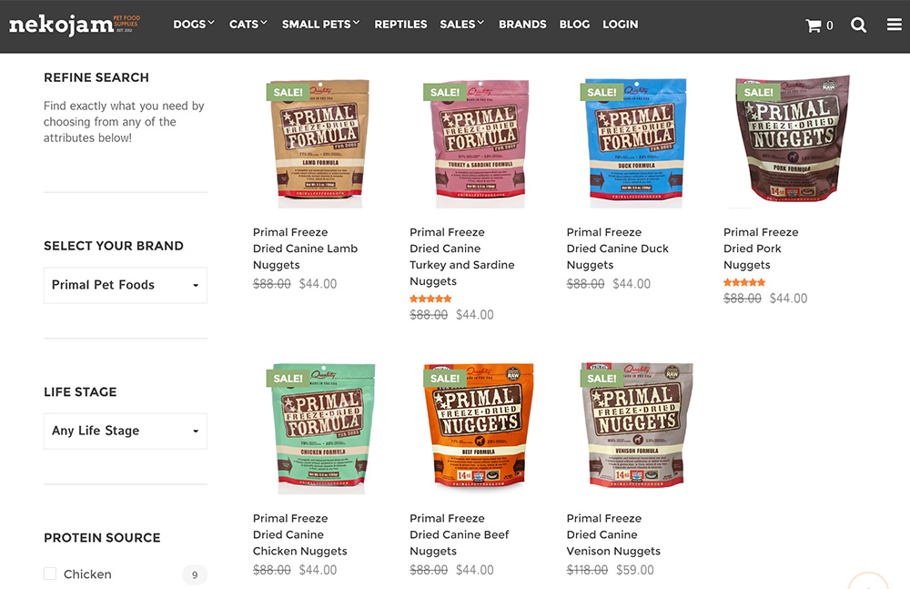 primal freeze dried nugget raw dog food range of flavours and proteins on nekojam online shop singapore