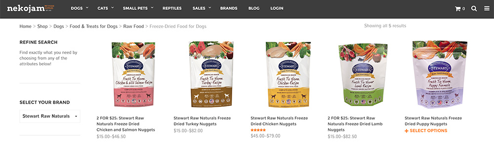 stewart raw naturals freeze dried raw dog food on nekojam online store singapore