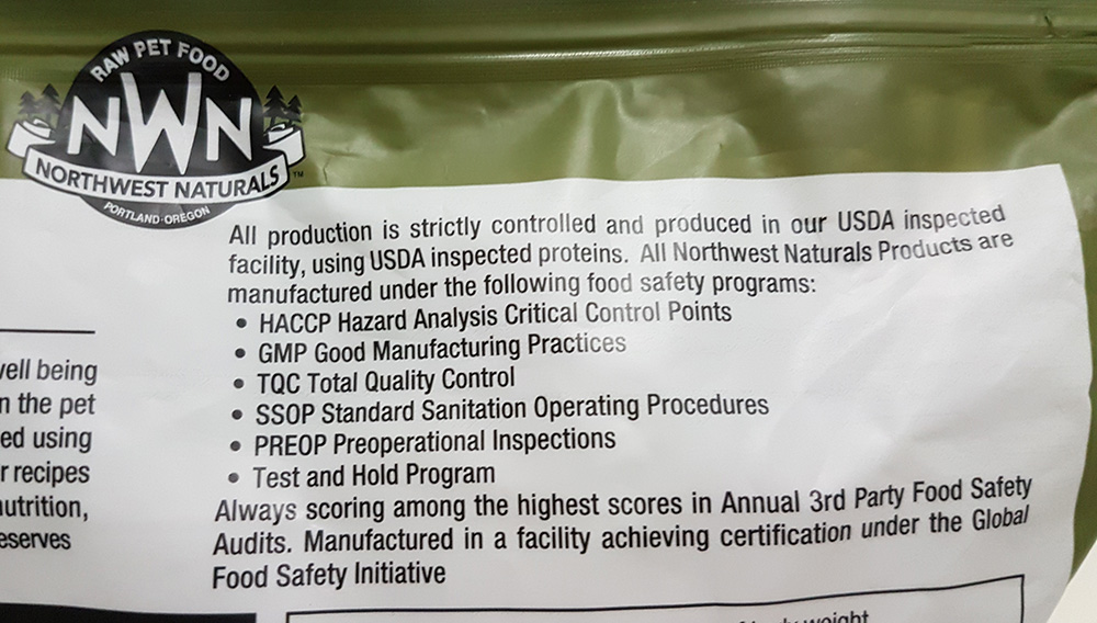 Food safety programs and tests are located prominently on the top of the Northwest Naturals raw pet food pack.
