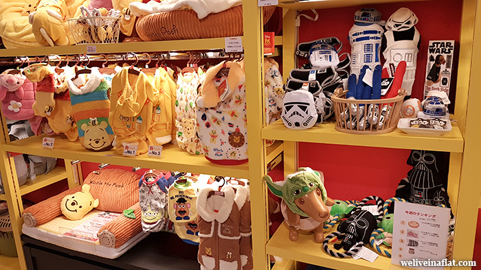 Disney, Star wars and Japanese brand pet toys at Pet Paradise Plus, Yodobashi-Umeda, Osaka, Japan pet shop