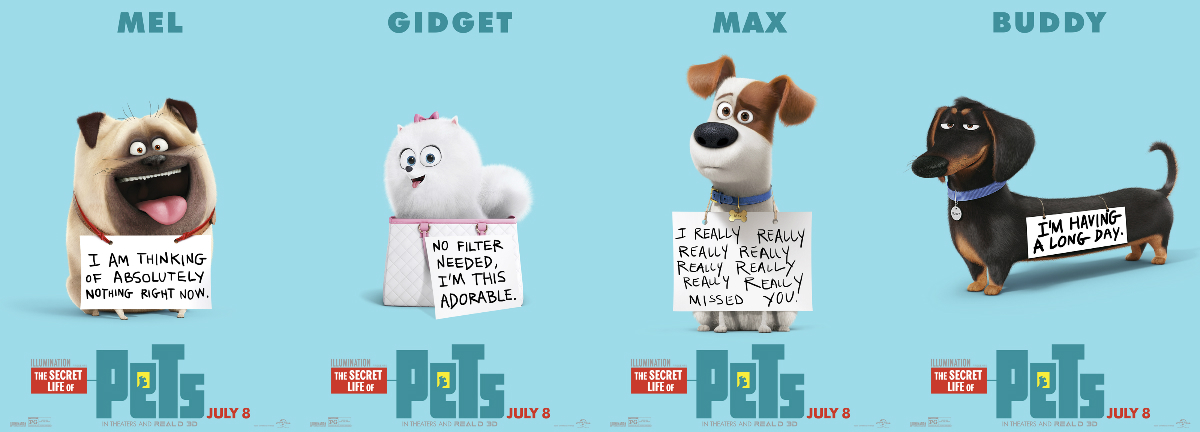 secret life of pets movie review - tiny dog pomeranian, pug, dachshund, jack russell terrier