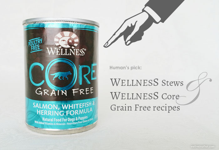 Dog canned food/wet food. Human's pick: Wellness Stews and Wellness Core Grain Free recipes